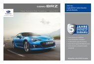 Ausstattung und Preise - Subaru