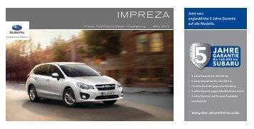 Technische Daten, Ausstattung und Preise des Subaru Impreza