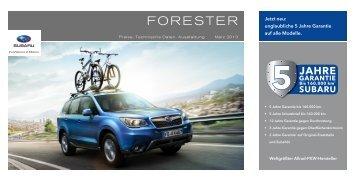 Technische Daten, Ausstattung und Preise des Subaru Forester