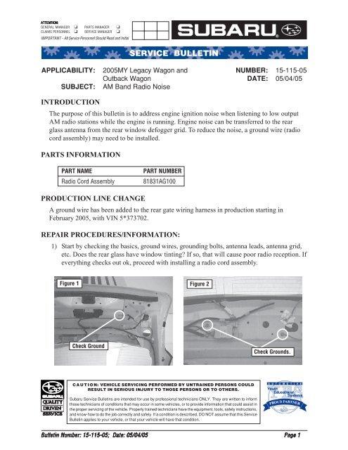 15-115-05 AM Band Radio Noise pdf - Subaru Outback Forums