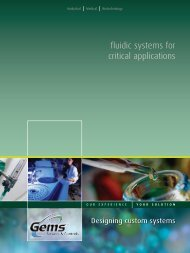 fluidic systems for critical applications - Gems™ Sensors & Controls