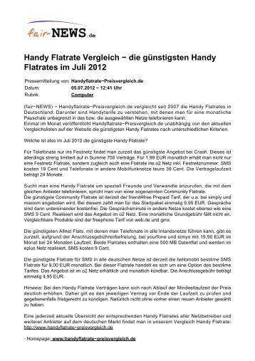 die günstigsten Handy Flatrates im Juli 2012 - Fair-news.de