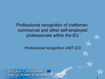 Professional recognition of craftsmen, commercial and other self ...