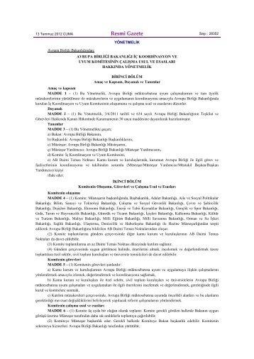 Avrupa Birliği Bakanlığı İç Koordinasyon ve Uyum Komitesinin ...