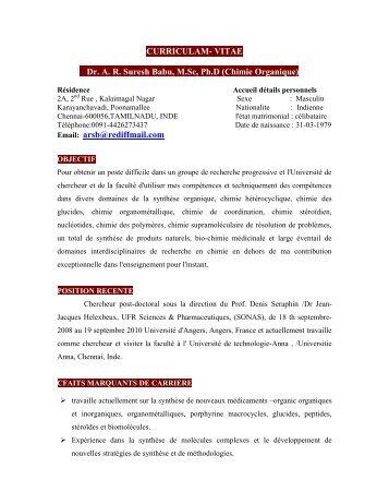 CURRICULAM- VITAE Dr. A. R. Suresh Babu, M.Sc, Ph.D ... - cefipra