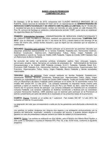 BASES DEL SORTEO _Remodelaciãn Falabella ... - CMR Falabella