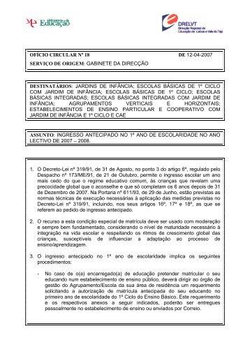 Ofício Circular nº 18/2007/DIR - Direcção Regional de Educação de ...