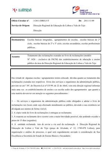 Ofício Circular nº 3/2011/DRELVT - Direcção Regional de Educação ...