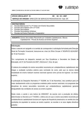 Ofício Circular nº 10/2007/DSP - Direcção Regional de Educação de ...