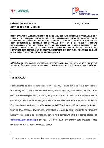 Ofício Circular nº 17 - Direcção Regional de Educação de Lisboa