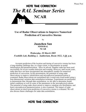 Use of Radar Observations to Improve Numerical Prediction of ... - RAL