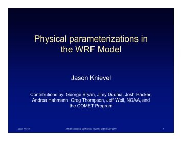 Physical parameterizations in the WRF Model