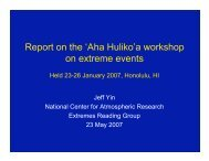 Report on the 'Aha Huliko'a workshop on extreme events - RAL