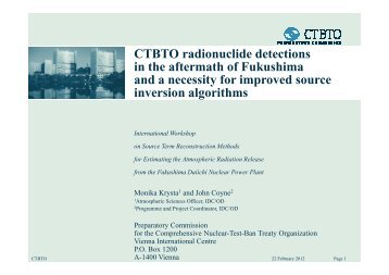 CTBTO radionuclide detections in the aftermath of Fukushima and a ...