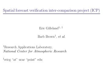 Spatial forecast verification inter-comparison project (ICP) - RAL
