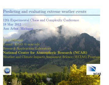 Predicting and evaluating extreme weather events