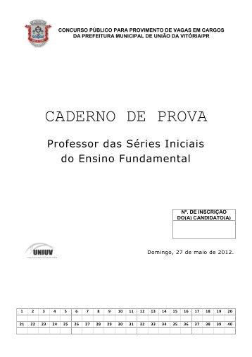 CADERNO DE PROVA - Concursos - Uniuv