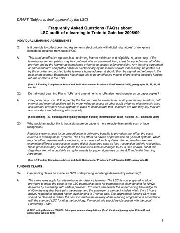 (FAQs) about LSC audit of e-learning in Train to Gain for ... - E-Portfolio