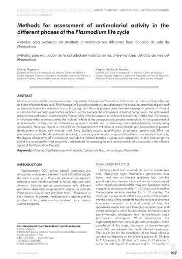 Methods for assessment of antimalarial activity in the different ...
