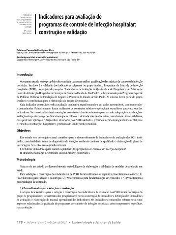 Indicadores para avaliação de programas de controle de infecção ...
