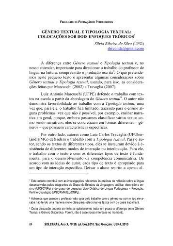 GÊNERO TEXTUAL E TIPOLOGIA TEXTUAL: COLOCAÇÕES SOB ...