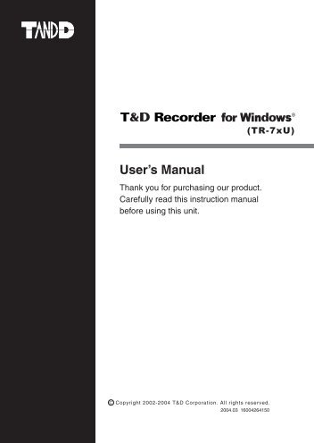 T&D Recorder Software Manual - MicroDAQ.com
