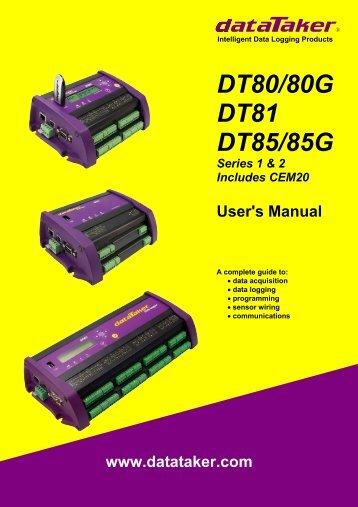 Datataker dt80 user's manual - data loggers - MicroDAQ.com