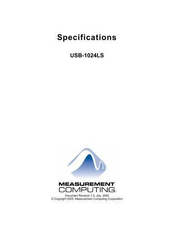 Specifications: USB-1024LS - MicroDAQ.com
