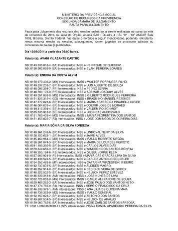 Pauta da 2ª CAJ dos dias 12 e 13/09/2011 - Ministério da ...