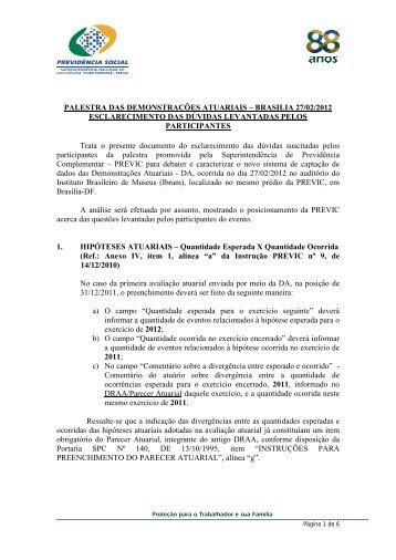 PALESTRA DAS DEMONSTRAÇÕES ATUARIAIS – BRASILIA 27 ...
