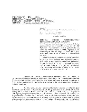 conjur n° 2961 - Ministério da Previdência Social