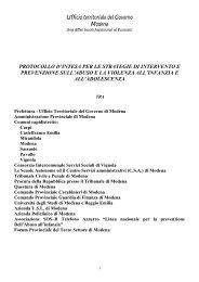 Protocollo d'intesa per le strategie di intervento e prevenzione sull ...