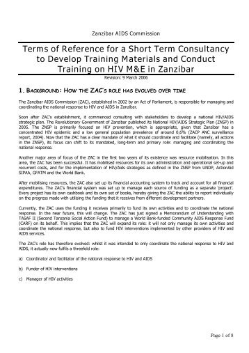 Short term consultancy to develop training materials and conduct ...