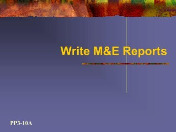 How to Write M&E Reports - GAMET HIV Monitoring & Evaluation ...