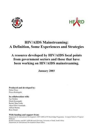 HIV/AIDS Mainstreaming - GAMET HIV Monitoring & Evaluation ...