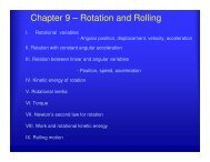 Chapter 9 – Rotation and Rolling - UCF Physics
