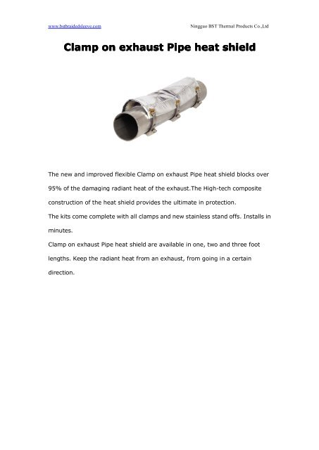 Clamp on exhaust Pipe heat shield
