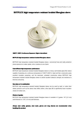 high temperature resistant braided fiberglass sleeve