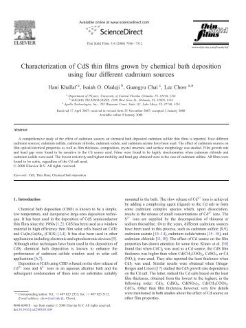 Characterization of CdS thin films grown by ... - ResearchGate