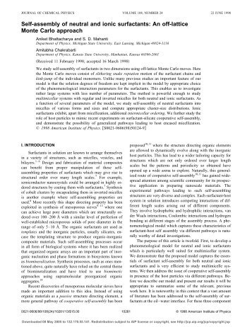 Self-assembly of neutral and ionic surfactants: An off ... - UCF Physics