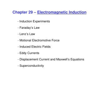 Chapter 29 – Electromagnetic Induction - UCF Physics