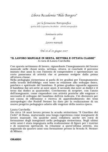 "Libera Accademia ""Aldo Bargero"" - Rudolf Steiner"