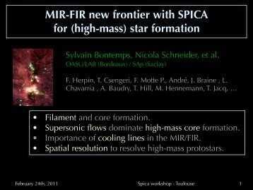 Sylvain BONTEMPS: MIR-FIR new frontier with SPICA for (high-mass)