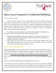 Open Access Compared to Traditional Publishing