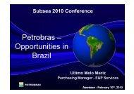 Petrobras – Opportunities in Brazil - Subsea UK