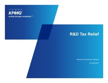 R&D Tax Relief - Subsea UK
