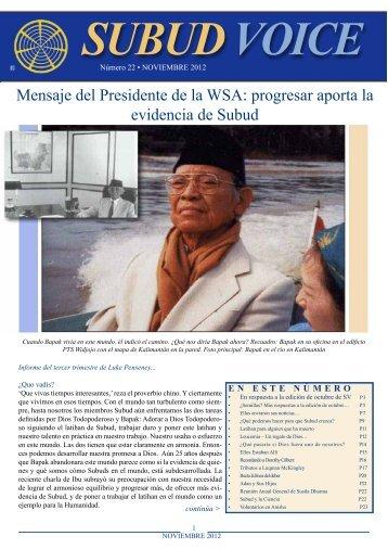 Mensaje del Presidente de la WSA: progresar aporta ... - Subud Voice