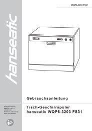 Gebrauchsanleitung Tisch-Geschirrspüler hanseatic ... - Schwab