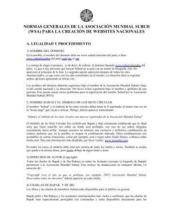 (wsa) para la creación de websites nacionales - Subud World News