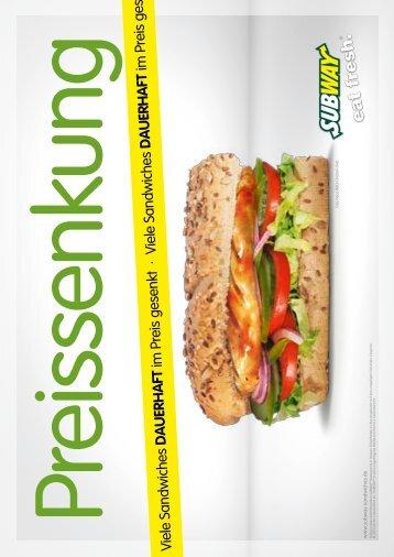 Viele Sandwiches dauerhaft im Preis ges